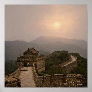 Vista aérea de la Gran Muralla de China Póster