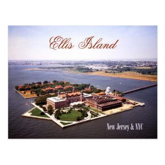 Vista aérea de la isla de Ellis, de NJ y de NY Postales
