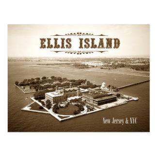Vista aérea de la isla de Ellis, de NJ y de NY Tarjetas Postales