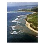 Vista aérea de la orilla de Hanalei - Kauai Postal