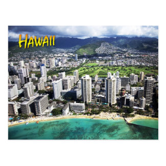 Vista aérea de la playa de Waikiki, Oahu, Hawaii Postal