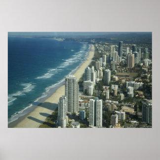 Vista aérea de la playa póster