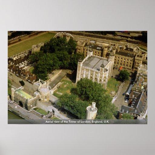 Vista aérea de la torre de Londres, Inglaterra, Re Impresiones