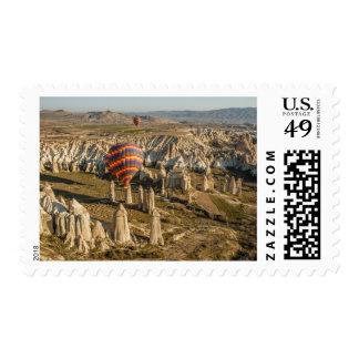 Vista aérea de los globos del aire caliente, timbres postales