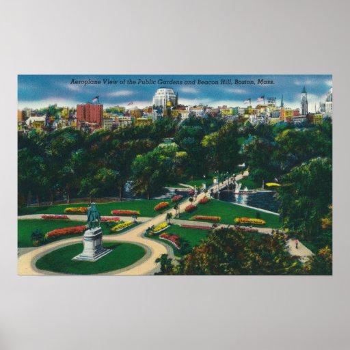 Vista aérea de los jardines públicos, Beacon Hill Poster