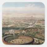 Vista aérea de Madrid de la plaza de Toros Calcomania Cuadradas Personalizadas