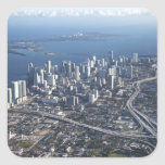 Vista aérea de Miami Calcomanías Cuadradas