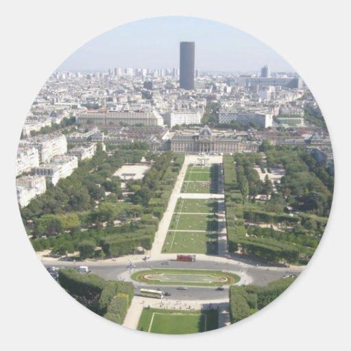 Vista aérea de París Pegatina Redonda