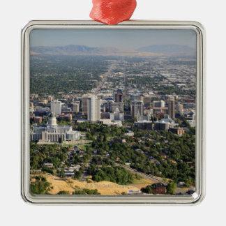 Vista aérea de Salt Lake City céntrico, Utah Ornamento Para Arbol De Navidad