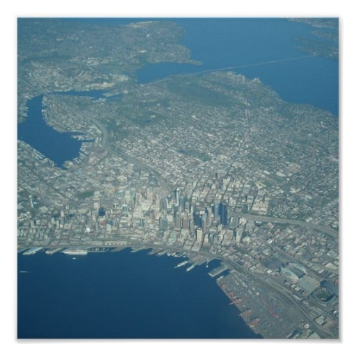 Vista aérea de Seattle Poster