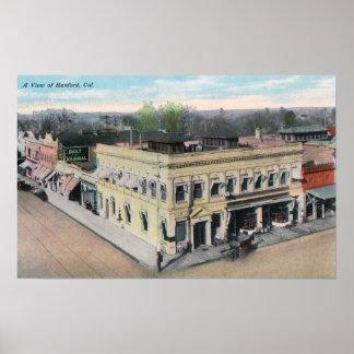 Vista aérea de una esquina de calle de Hanford Póster