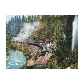Vista aérea de una estación de tren lienzo envuelto para galerias