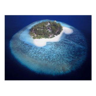 Vista aérea de una isla tropical, Maldivas Postales