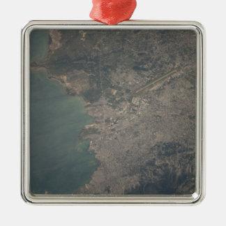 Vista aérea del área del Port-au-Prince de Haití Adorno Navideño Cuadrado De Metal