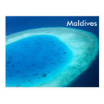 Vista aérea del atolón de Maldivas Tarjeta Postal