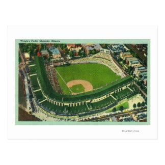 Vista aérea del campo de 2Chicago IL de Wrigley Tarjeta Postal
