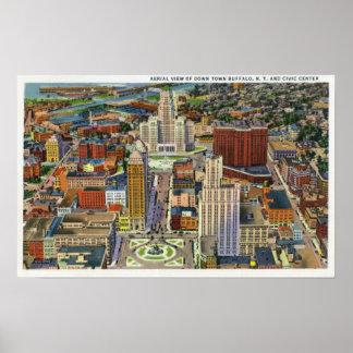 Vista aérea del centro de la ciudad y del centro m póster