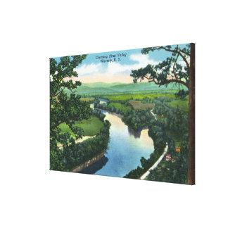 Vista aérea del Chemung River Valley Lona Envuelta Para Galerias