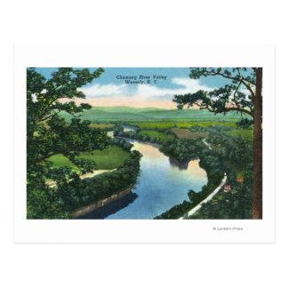 Vista aérea del Chemung River Valley Tarjeta Postal