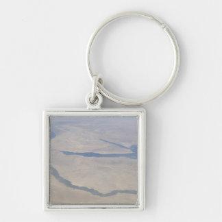 Vista aérea del Egipto y del Sinaí Peninsul Llavero Cuadrado Plateado