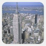 Vista aérea del Empire State Building y Pegatina Cuadradas Personalizadas