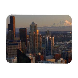 Vista aérea del horizonte 2 de la ciudad de Seattl Imanes Flexibles