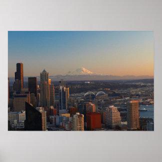 Vista aérea del horizonte 2 de la ciudad de Seattl Impresiones