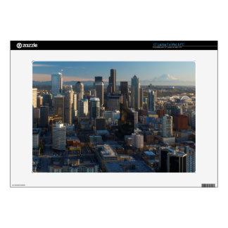 Vista aérea del horizonte de la ciudad de Seattle Calcomanía Para Portátil