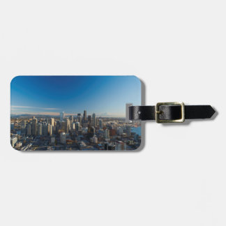 Vista aérea del horizonte de la ciudad de Seattle Etiquetas Para Equipaje
