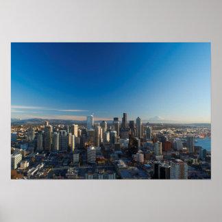 Vista aérea del horizonte de la ciudad de Seattle Poster