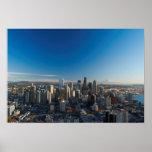 Vista aérea del horizonte de la ciudad de Seattle Póster
