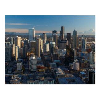 Vista aérea del horizonte de la ciudad de Seattle Postal