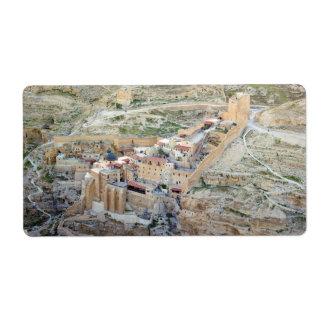 Vista aérea del monasterio de marcha Saba Etiquetas De Envío
