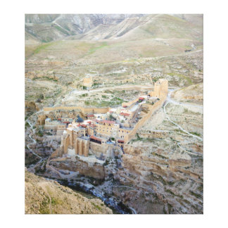 Vista aérea del monasterio de marcha Saba Impresión De Lienzo