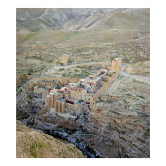 Vista aérea del monasterio de marcha Saba Poster
