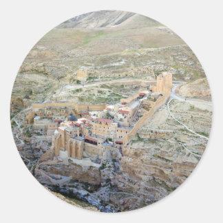 Vista aérea del monasterio de marcha Saba Pegatina Redonda