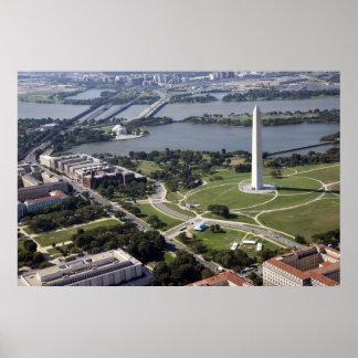 Vista aérea del monumento de Washington Póster