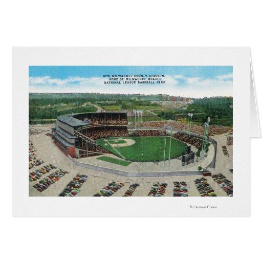 Vista aérea del nuevo Milwaukee County Stadium Tarjeta De Felicitación