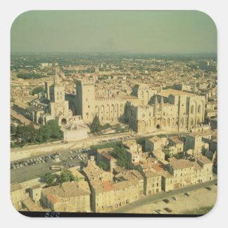 Vista aérea del palacio calcomanía cuadrada personalizada