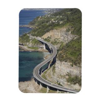 Vista aérea del puente del acantilado del mar cerc imán rectangular