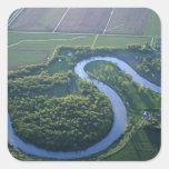 Vista aérea del Red River del norte Pegatinas Cuadradases Personalizadas