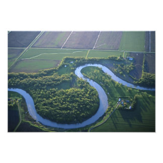 Vista aérea del Red River del norte Impresión Fotográfica