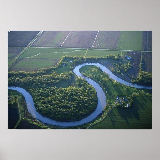 Vista aérea del Red River del norte Posters