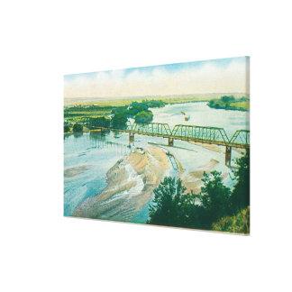 Vista aérea del río y del puente impresión en lona