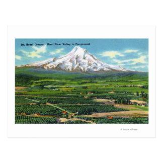 Vista aérea del valle y de la montaña de Hood Tarjeta Postal