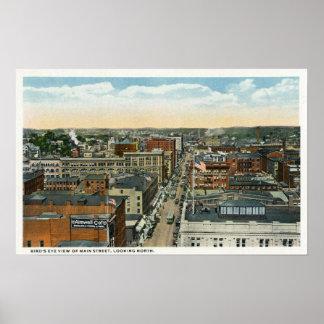 Vista aérea septentrional de la calle principal póster