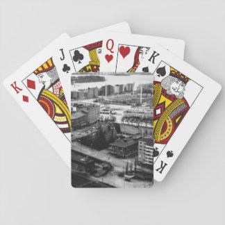 Vista aérea temática, blanco y negro aérea del baraja de póquer