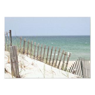 """Vista al mar a través de la cerca de la duna y de invitación 5"""" x 7"""""""
