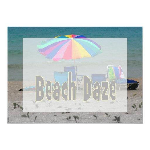 """vista al mar colorida de la playa del paraguas del invitación 5"""" x 7"""""""