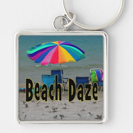 vista al mar colorida de la playa del paraguas del llaveros personalizados